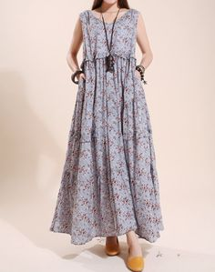 Cotton sleeveless long dress Loose Floral Big swing by MaLieb