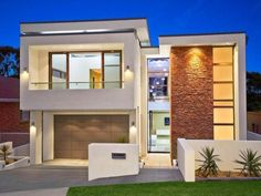 Photo of a brick house exterior from real Australian home - House Facade photo 721087 Building Design, Building A House, Building Ideas, Modern Brick House, Modern Houses, Luxury Houses, Duplex Design, Small Modern Home, Luxury Restaurant