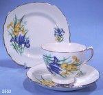 Crown Royal Irises Vintage Bone China Tea Trio