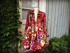 S-M Brilliant Multi Colored Bohemian Pixie Coat// Upcycled Granny Square Coat// One of a Kind Artsy coat// emmevielle