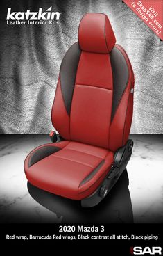 - This is a 2020 Mazda 3 seat with Red wrap, Barracuda Red wings, Black contrast all stitch, Black piping. Leather Kits, Custom Leather, Real Leather, Automotive Upholstery, Car Upholstery, Camo Gear, Leather Seat Covers, Popular Colors, Mazda 3