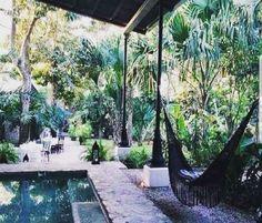 backyard garden patio dream home plunge pool brick tile Bohemian House, Outdoor Spaces, Outdoor Living, Outdoor Decor, Exterior Design, Interior And Exterior, Luxury Interior, Gazebos, The Great Outdoors
