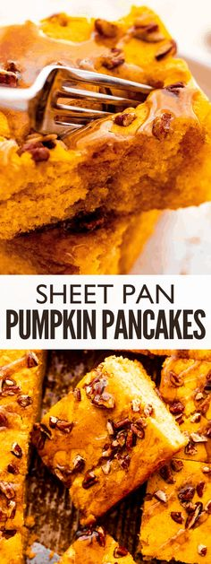 Rich with real pumpkin and fragrant pumpkin pie spice, these Sheet Pan Pumpkin Pancakes are an easy and delicious breakfast the whole family will love! Breakfast Waffles, Breakfast Casserole Easy, Egg Recipes For Breakfast, Quick And Easy Breakfast, Pancakes And Waffles, Best Dessert Recipes, Brunch Recipes, Fun Desserts, Fall Recipes