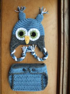Owl and Diaper Cover Set 0 to 3 months by LittlestYarnShop on Etsy, $25.00 I WANT THIS!