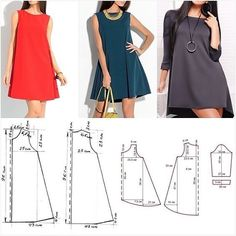Midi dress for Woman. Dress Sewing Patterns, Sewing Patterns Free, Clothing Patterns, Fashion Sewing, Diy Fashion, Ideias Fashion, Sewing Clothes, Diy Clothes, Circle Skirt Pattern