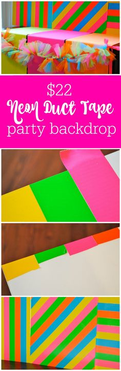 $22 neon duct tape party backdrop by The Party Teacher | http://thepartyteacher.com/2014/01/27/tutorial-22-20-minute-neon-party-duck-tape-backdrop/