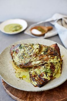 Looking for Cabbage recipes? Try our delicious and easy Charred Miso Cabbage with Green Tahini Sauce. This will serve 4 as a side to a larger meal. Vegetarian Recipes, Cooking Recipes, Healthy Recipes, Baked Cabbage, Roasted Cabbage, Good Food, Yummy Food, Cabbage Recipes, Foodies