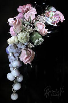 "Bracelet ""Abundance of tenderness"" Handmade, silver, glass (lampwork)"
