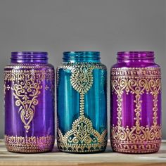 Jewel Toned Mason Jar Vase Gypsy Wedding Centerpiece with