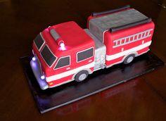 Sara Elizabeth: Custom Cakes & Sweets. Cake Tutorial: 3D Firetruck Cake! Sculpted cake, fondant, and gumpaste, with working lights.