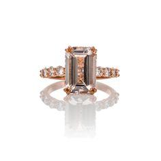 CUSTOM MORGANITE,DIAMOND AND ROSE GOLD ENGAGEMENT RING