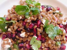 wheatberries with dried cranberries, fresh pomegranate seeds, chopped scallions and whole fresh cilantro, feta and olive oil & sea salt/pepper