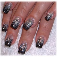 "Sprinkle a bit of our glitter in ""silver"" on your nails before applying your topcoat to get this look!"