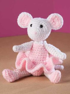 Ballerina Mouse Crochet Pattern Download from e-PatternsCentral.com -- This posable little dancer leaps and pirouettes with ease with fully jointed limbs that gracefully move.