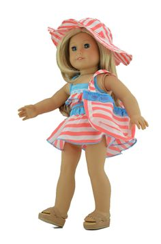 "18'' American Girl Doll Clothes: Pink Bikini Swimsuit Outfit for 18"" Doll, 18'' doll clothes, 18'' doll outfit, American Girl Outfit#1137"