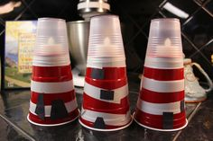 lighthouses out of plastic cups