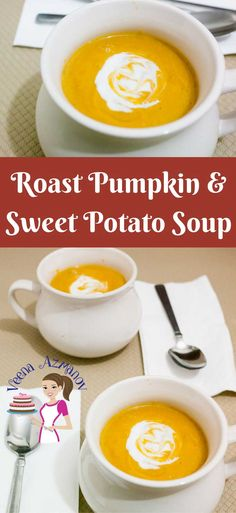 This Roast Pumpkin and Sweet Potato Soup is the simplest and easiest soup recipe that you can make. Roasting the veggies brings out the sweetness of the vegetables and adds to the velvet texture of the soup. via @Veenaazmanov