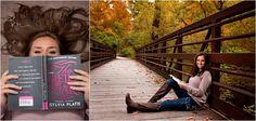 Class of 2016, photographer, photography, photos, senior, girl, long hair, brunette, fall, gray, woods, park, trail, outdoors, portrait, autumn, trees, bridge, book, sylvia plath, boots, peek