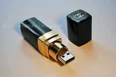 Chanel Lipstick USB / 16 GB or 32 GB Flash Drive / Black / Gold by PointsAndPlaces on Etsy AYA