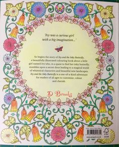 Back page of Ivy and the Inky Butterfly by Johanna Basford. Lovely book!