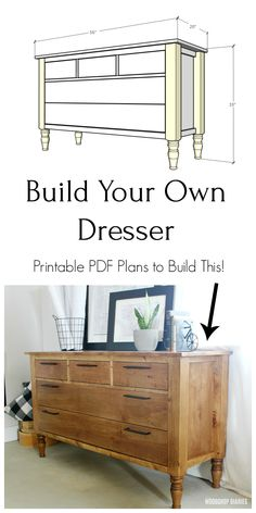 Build this five drawer bedroom dresser piece with these plans and video! Perfect as a bedroom dresser or changing table in a baby's room. With five drawers, it has plenty of storage space. Diy Furniture Plans Wood Projects, Woodworking Projects Diy, Woodworking Furniture, Woodworking Plans, Diy Projects, Canadian Woodworking, Japanese Woodworking, Woodworking Magazine, Outdoor Furniture