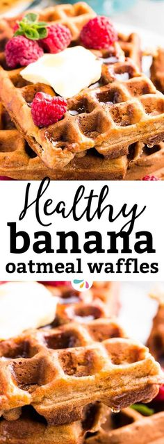 These whole wheat banana oatmeal waffles will give your family a healthy start into the day! Easy to make and full of fluffy banana pieces. They're perfect as a lighter weekend brunch, but you can also make them and freeze them to always have a quick make ahead breakfast on hand! You can even use these for clean eating meal prep if you want. They're great for the whole family - even young kids and toddlers will enjoy these. | #healthy #breakfast #brunch #mealprep #freezercooking #makeahead
