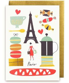 Editors' Notes These fun greetings cards are from the talented illustrator Debbie Powell, who uses the techniques of silkscreen printing, collage and painting, Illustration Parisienne, Paris Illustration, Graphic Design Illustration, Gustave Eiffel, Lagom Design, Paris Poster, I Love Paris, Oui Oui, France