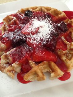 Buttermilk Waffles with four berry compote. #nosyrupneeded #sweetandsavorytastings #buttermilk #waffles #strawberry #blueberry #blackberry #raspberry #compote
