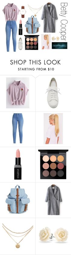 """""""❀Betty❀Riverdale❀"""" by frejatwoshoes on Polyvore featuring Santoni, Smashbox, MAC Cosmetics, Herschel Supply Co., WithChic, Bling Jewelry and Daniel Wellington"""