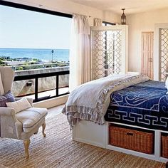 This master bedroom has pops of blue to mirror its gorgeous view of the Pacific Ocean coastalliving.com (Carpet Top View)