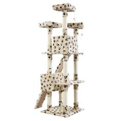 New 66' Cat Tree Tower Condo Furniture Scratching Post Pet Kitty Play House / Beige With Paws Color   : Cats House