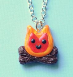 Polymer Clay Charms Ideas | Kawaii Campfire Charm Necklace Polymer Clay Miniature Jewelry via Etsy