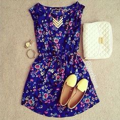 Dark blue floral dress gold studded bag cute lemon shoes and pretty necklace