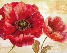 Flores rojas (arte decorativo) Camiseta en AllPosters.es