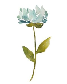 blue ice - peony, flower, painting, watercolor, abstract, impressionist, minimal...Awesome!