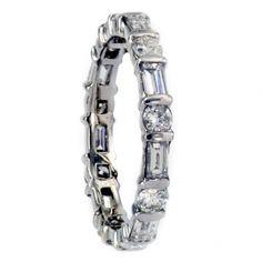 An Estate Baguette & Round Diamond Eternity Ring - Bridal - Vintage Estate Engagement & Wedding Rings   Jacob's Estate Jewelry