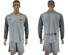 buy barcelona grey goalkeeper long sleeve soccer jersey online from reliable barcelona grey goalkeep