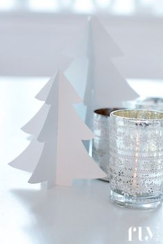 white paper Christmas trees and silver candle lights | Xmas decoration . Weihnachtsdekoration . décoration noël | Photo: FruFly |