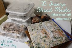 "All Four Love: Cook for a Day, Eat for a Month. I see pins all the time that are ""once a month cooking"" and ""prepare all these zillion freezer meals in advance"" and I've always wondered what that would be like. Well, here's a mom who tried it out, researched more, and tweaked it for variety! This is her experience and a list of the recipes."