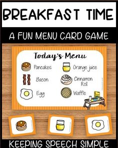 This breakfast themed menu, card game is a fun way to develop vocabulary and play skills with preschool and kindergarten students. This game is fun on its own or can be  used in centers for dramatic play or as a matching activity. This game can also be used during speech therapy, with ESL students or in special education classrooms. It is also suitable for home school.