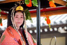 2016 葵祭 Aoi Festival 斎王代 KYOTO JAPAN  A woman dressed in junihitoe.