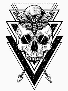 Vector boho design of skull with hawk moth and sac. Vector boho design of skull with hawk moth and sacred geometric elements, arrows, hipster triangles, mystical symbols. Vector monochrome art isolated on white. Skull Tattoos, Body Art Tattoos, New Tattoos, Sleeve Tattoos, Cool Tattoos, Awesome Tattoos, Geometric Symbols, Geometric Tattoo Design, Geometric Tattoo Skull