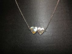 Double Heart Abalone Silver Tone Necklace by vintagelapidarydream, $6.00