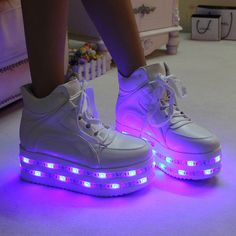PU leather WHITE high heel led shoes platform shoes with multicolors led strips sneaker(US size 8 for women,foot length cm) Light Up Shoes, Lit Shoes, Shoes Heels, Dress Shoes, Shoes With Lights, Light Up Sneakers, Prom Shoes, Louboutin Shoes, Shoes Sneakers