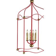 Currey & Company C9033 Carousel Entrance / Foyer Pendant Light - Red / Gold