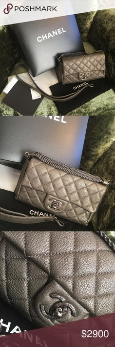 💯 Authentic Chanel convertible Flap Bag BNIB 💯 Authentic Chanel Convertible Flap Bag bought brand new from Bloomingdales. Used it once for an event and forget it existed. It can be used as an evening bag , or a day bag. Strap is detachable. Size approx: 8.5 x 5 x 2 inches , small chain drops approx 2.75 inches , strap drops approx: 18.5 inches. Comes with everything including receipt and tag. The bag is 3K plus tax. It's literally brand new. New imperfections. Price firm. Thanks you :)…