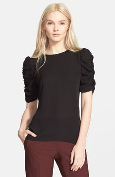 Theory+'Avonlee'+Ruched+Sleeve+Silk+Top+available+at+#Nordstrom