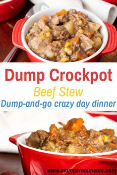 Need a easy dump dinner? This simple beef vegetable stew is perfect for those crazy days! Dump it in the crockpot before you leave and come home to a delicious smelling stew! Healthy Beef Recipes, Good Healthy Snacks, Clean Eating Recipes, Slow Cooker Recipes, Cooking Recipes, Soup Recipes, Recipies, Dinner Recipes, Beef Stew Crockpot Easy