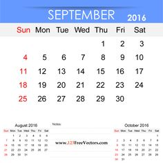 Free Download September 2016 Calendar Printable Template Vector Illustration. Can be used for business, corporate office, education, home etc.Free Editable Monthly Calendar September 2016 available in Adobe Illustrator Ai