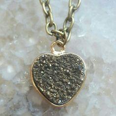 Champagne Aura Druzy Quartz loveheart necklace.